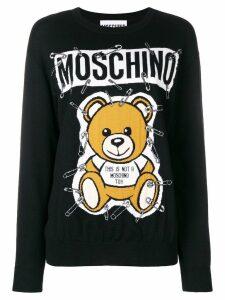Moschino teddy bear intarsia sweater - Black