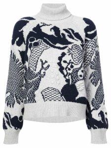 Barrie Stencil Garden cashmere turtleneck pullover - Blue