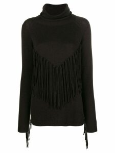 P.A.R.O.S.H. fringed turtle neck sweater - Brown