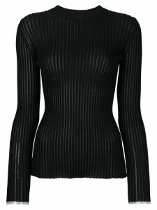 Proenza Schouler Long Sleeve Ribbed Crewneck - Black