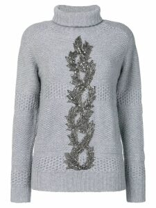 Jo No Fui embellished turtle neck sweater - Grey