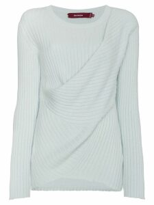 Sies Marjan Ribbed Jumper with Draped Detailing - Green