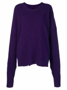 Unravel Project oversized distressed crew-neck sweater - Purple