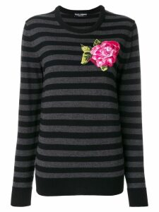 Dolce & Gabbana embroidered applique flower jumper - Grey