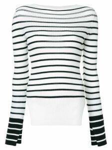 MRZ striped side-slit jumper - White