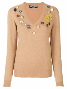 Dolce & Gabbana flower patch jumper - Brown