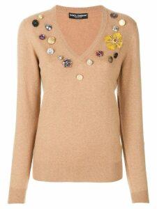 Dolce & Gabbana flower patch jumper - Brown