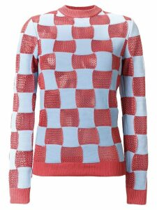 Marni checked crew neck sweater - Blue