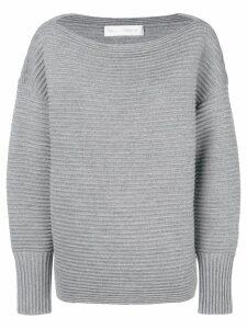 Victoria Victoria Beckham ribbed slash neck sweater - Grey