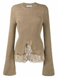 Givenchy knitted lace hem jumper - Brown