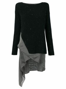 Fabiana Filippi ribbed sweater with asymmetric hem - Black
