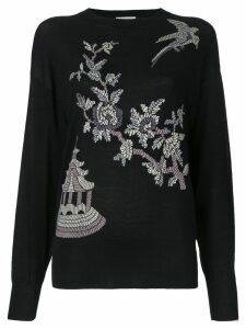 Ms Min floral pattern jumper - Black
