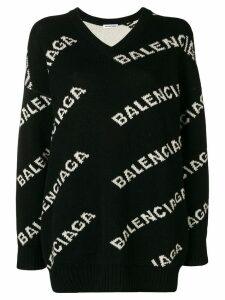 Balenciaga V-neck logo sweater - Black