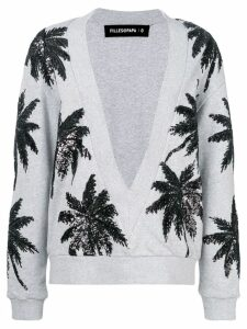 Filles A Papa sequin palm tree v-neck sweater - Grey