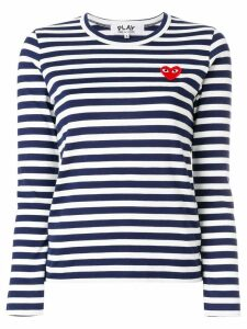 Comme Des Garçons Play heart logo striped top - Blue