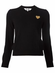 Comme Des Garçons Play embroidered heart v-neck jumper - Black