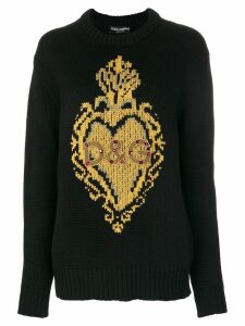 Dolce & Gabbana knit intarsia heart jumper - Black