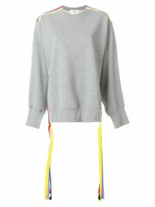 Ports 1961 oversized stripe detail sweater - Grey
