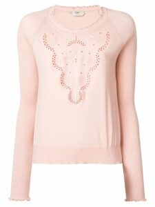 Fendi embroidered jumper - NEUTRALS