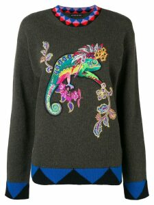 Etro embroidered Lizard jumper - Green