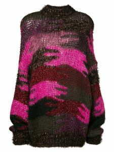 Saint Laurent camouflage jacquard knit jumper - PINK