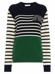 JW Anderson striped logo-patch jumper - Blue