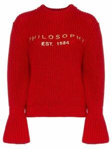 Philosophy Di Lorenzo Serafini red logo wool jumper