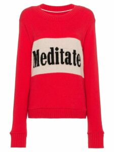 The Elder Statesman long sleeve cashmere sweater with slogan - PINK