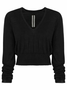 Rick Owens v-neck cropped sweater - Black