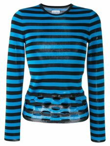Paco Rabanne perforated stripe jumper - Blue