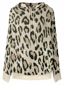 R13 leopard print hooded sweater - Neutrals