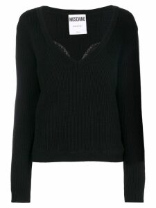Moschino lace detail sweater - Black