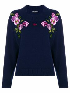 Dolce & Gabbana flower knit jumper - Blue