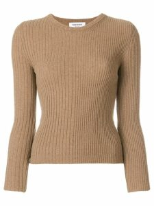Thom Browne Striped Rib Stitch Camel Hair Pullover - NEUTRALS