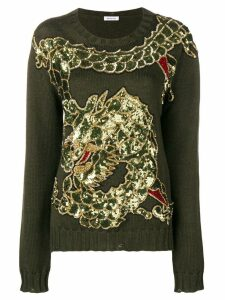 P.A.R.O.S.H. dragon sequin embroidered jumper - Green