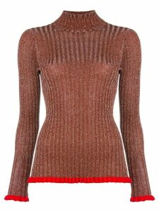 Chloé frilled turtleneck jumper - Brown