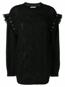 RedValentino longline open-knit jumper - Black