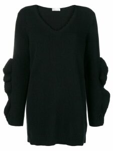 Red Valentino frayed knit sweater - Black
