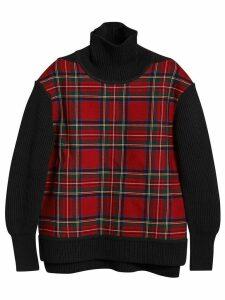 Burberry tartan panel turtleneck jumper - Red