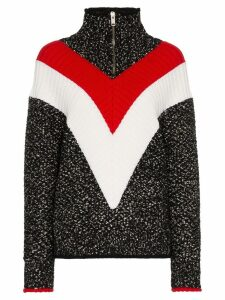 Givenchy chevron stripe zip up jumper - Black