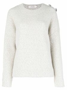 Dorothee Schumacher brooch embellished drop-shoulder sweater - Grey