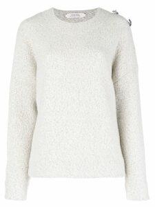Dorothee Schumacher brooch embellished drop-shoulder sweater - Grey