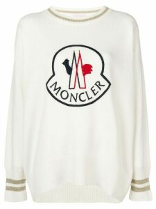 Moncler logo embroidered sweater - White
