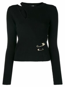 Versus cut-out fitted jumper - Black