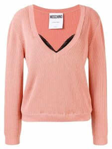 Moschino layered ribbed knit sweater - PINK