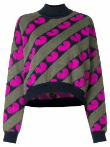 Marni fuzzy heart print jumper - Green