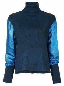 Cédric Charlier metallic knit turtleneck jumper - Blue