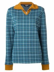 Calvin Klein 205W39nyc zip up tartan jumper - Blue