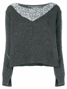 Ermanno Scervino embellished contrast sweater - Grey
