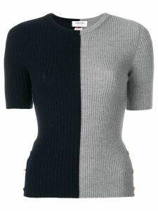 Thom Browne Striped Bicolor Rib Stitch Merino Tee - Grey
